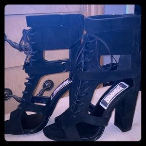 Shoes - Suede black heels. Brand new never worn